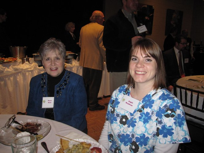Dana Hale, left, vice president of nursing at Lawrence Memorial Hospital, and Angie Waldron, a registered nurse, attend the LMHEA annual meeting Thursday, Jan. 27, 2011, at Maceli's.