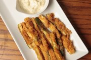 These zucchini fries pair nicely with a lemon aioli and make a great party-friendly finger food.