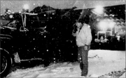 David Copp, city street department employee, was ready to spread sand on snow-covered streets Feb. 26, 1993 after loading his truck behind street division offices at 1120 Haskell.