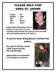 Lawrence police are among those looking for Greg St. Amand, 20, who was last seen Jan. 28 in Manhattan.