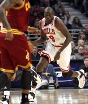 Chicago's Luol Deng heads upcourt against the Cleveland Cavaliers in this Jan. 22 file photo. Deng recently expressed his disappointment that the Bulls were ignored in All-Star reserves voting.