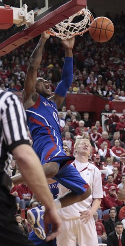 Thomas Robinson, (0) dunks against the Cornhuskers Saturday, Feb. 5, 2011 at the Devaney Center in Lincoln, Neb.