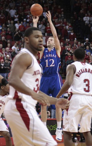 Kansas guard Brady Morningstar shoots a three-pointer against Nebraska on Saturday,  Feb. 5, 2011 at the Devaney Center in Lincoln, Neb. Morningstar led all scorers with 19 points and six assists.