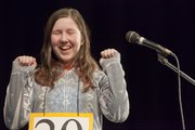 "Susan Rockhold, a South Junior High School seventh-grader, reacts after she spelled ""shrapnel"" correctly for the last word needed to win the Douglas County Spelling Bee Saturday at Southwest Junior High School, 2511 Inverness Drive."
