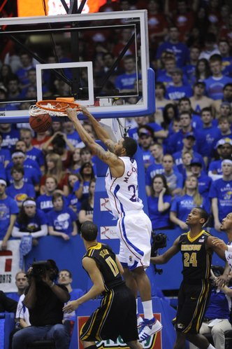 Kansas forward Marcus Morris delivers two points in the second half against Missouri on Monday, February 7, 2011 at Allen Fieldhouse.