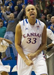 Kansas forward Tania Jackson celebrates after Carolyn Davis hit the game winning shot in overtime against Iowa State Wednesday, Feb. 9, 2011 at Allen Fieldhouse.