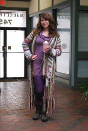 Clothing Details:  Boots: Weavers, January 2011, $120.  Tights: Hobbs, February 2011, $16.  Dress: Plato's Closet, September 2010, $15.  Sweater: Bauhaus, December 2010, gift.