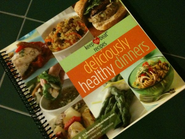 "The ""Deliciously Healthy Dinners"" cookbook by the National Heart, Lung, and Blood Institute."