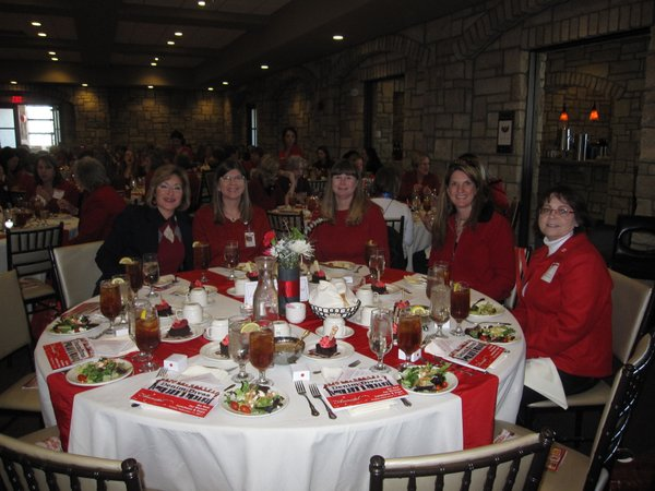 From left are Kathy Clausing-Willis, Roxy Johanning, Amy Alexander, Dr. Sherri Vaughn, and Janice Early, all of Lawrence Memorial Hospital. They attended the Go Red For Women luncheon on Friday, Feb. 11, 2011, at The Oread Hotel.