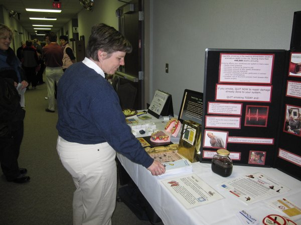 Janelle Martin, executive director of the Community Health Improvement Partnership, provided information about the ill effects of smoking on the heart during the Healthy Hearts Fair on Saturday, Feb. 12, 2011, at Lawrence Memorial Hospital.