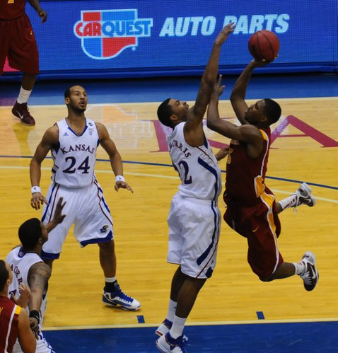 Marcus Morris (22), defends Melvin Ejim (3) during the second half against Iowa State on Saturday, Feb. 12, 2011 at Allen Fieldhouse.