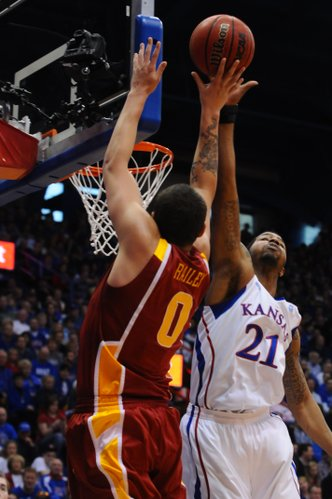 Kansas forward Markieff Morris (21) blocks a shot attempt by Iowa State's Jordan Railey (0) during the second half of KU's 89-66 win over Iowa State Saturday, Feb. 12, 2011 at Allen Fieldhouse.