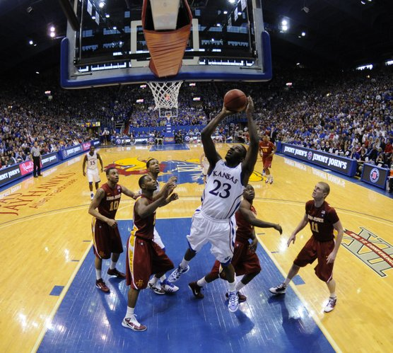 Kansas forward Mario Little goes up for a shot against the Iowa State defense during the second half on Saturday, Feb. 12, 2011 at Allen Fieldhouse.