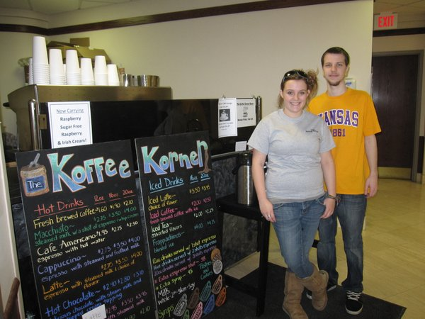 Kelly Woodson, left, and Max Buckmann, work at The Koffee Korner, a new coffee shop located across from the gift shop in Lawrence Memorial Hospital. Both are managers of the shop, which is open from 7 a.m. to 7 p.m. weekdays.
