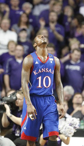 A frustrated Tyshawn Taylor reacts after fouling Kansas State guard Jacob Pullen during the second half on Monday, Feb. 14, 2011 at Bramlage Coliseum.