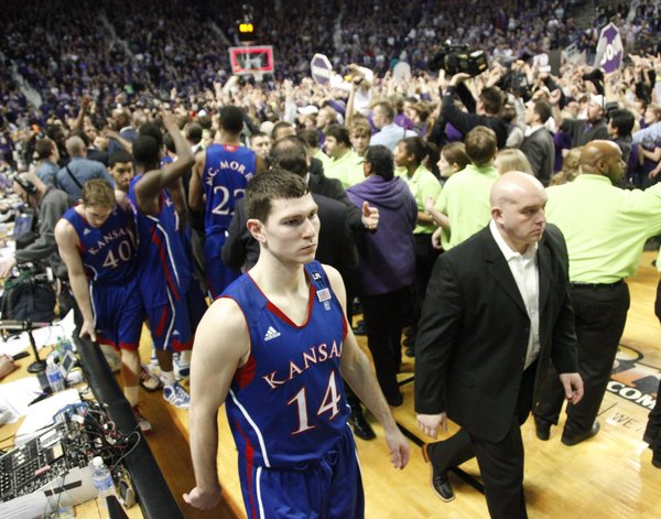 Kansas guard Tyrel Reed leaves the court after losing to Kansas State on Monday, Feb. 14, 2011 at Bramlage Coliseum.