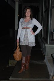 Clothing Details:  Boots: Borrowed from mom, 2011, free  Leggings: Old Navy, 2010, $10.  Dress: Urban Outfitters, 2010, $20.   Cardigan: Target, 2010, $20.  Belt: Target, 2010, $17.  Necklace: Goldmaker's, 1985, gift.  Bracelet: Street Vendor in Phoenix, 2010, $40.   Ring: Goldmakers, 2010, $36.  Purse: T.J.Maxx, 2010, $50.