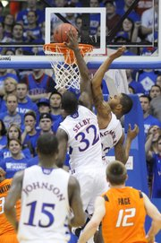 Josh Selby goes up for a basket during the first half against Oklahoma State on Monday, Feb. 21, 2011 at Allen Fieldhouse.
