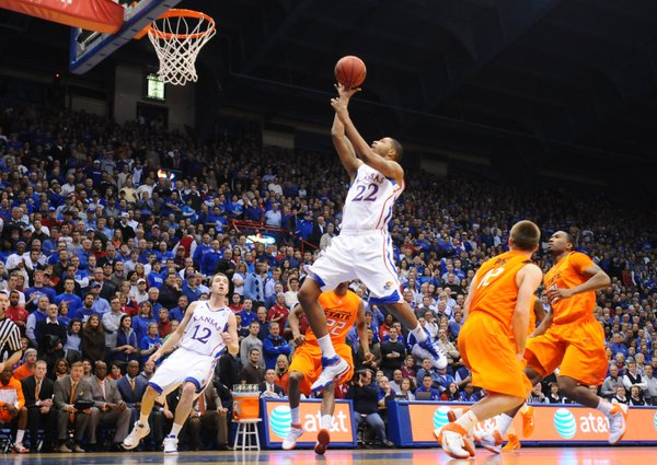 Kansas forward Marcus Morris floats a bucket past the Oklahoma State defense during the first half on Monday, Feb. 21, 2011 at Allen Fieldhouse.