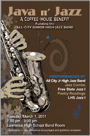 Poster for Java n' Jazz, 7 p.m. Tuesday,. March 1, 2011, in the band room at Lawrence High School, 1901 La.