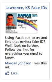 Fake ID AD on Facebook