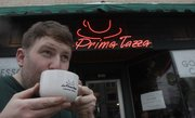 Barista Adam Lottt, 28 sips one his his brews at LA Prima Tazza, 638 Mass. was chosen as the best place to get a cup of coffee in Lawrence.