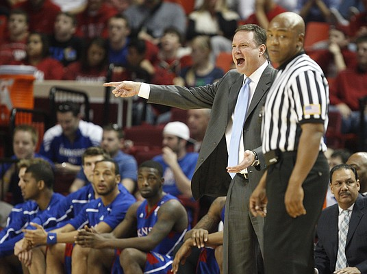 Kansas head coach Bill Self protests a call during the first half on Saturday, Feb. 26, 2011 at the Lloyd Noble Center in Norman, Okla.