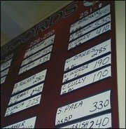 Stephen Paea's name, pictured above, appears in the Lawrence High weight room for athletes 251 pounds and above on the bench press. In the spring of 2005, Paea bench pressed 330 pounds, still an LHS record to this day.