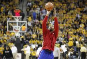 Kansas forward Marcus Morris puts up a shot prior to tipoff against Missouri on Saturday, March 5, 2011 at Mizzou Arena.