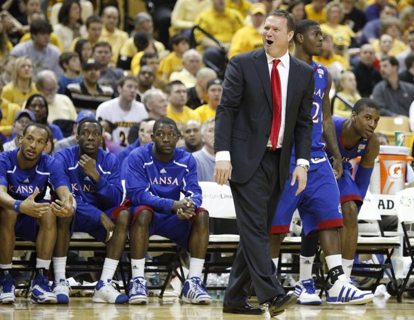 Kansas head coach Bill Self protests a call against the Jayhawks during the second half on Saturday, March 5, 2011 at Mizzou Arena.