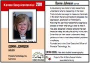 "Donna Johnson, founder and CEO of Pinnacle Technology Inc., is featured on a trading card. Among facts on the back of the card: ""EXTRA COOL: Has also studied oceanography."""