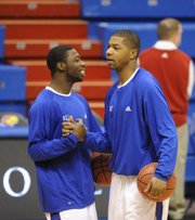 Marcus morris, right, and Elijah Johnson greet each other in this Jan. 16, 2010, file photo before taking on Texas Tech in Allen Fieldhouse. Johnson says Morris is one of the best friends he's ever had in his life.