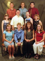The 2001 Academic All-Star Team: back row from left, Jeff Taylor, Jeremy Immer, Darren Welch; middle row from left, Lauren Gantz, Jay Wiesner, Amy Runnebaum, Amanda Leach; front row from left, Leah Cummings, Tristan Moody, Joyia Chadwick and Diana Jordan.