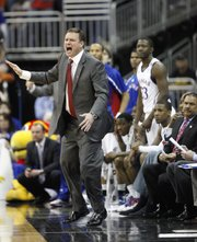 Kansas head coach Bill Self directs his defense against Colorado during the first half on Friday, March 11, 2011 at the Sprint Center.
