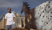 Lucas Nappo, a Haskell Indian Nations University student from Fort Hall, Idaho, helped paint some new pieces of art on the campus in 2010. The metal-fabricated Appaloosa horses were decorated by a number of student artists and add to the growing collection of campus art. Nappo is of the Shoshone Bannock tribe.