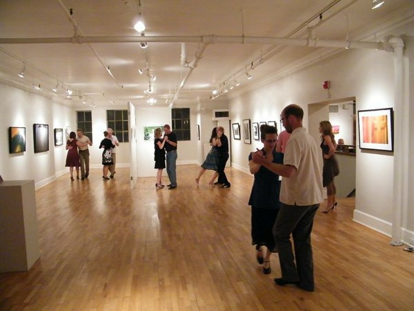 "Lawrence residents Ada Emmett and Doug Nickel, foreground, practice tango at Signs of Life Bookstore and Gallery, 722 Massachusetts. Lawrence Tango Dancers meets at the bookstore every Monday for free tango classes and a ""practica,"" or practice session."