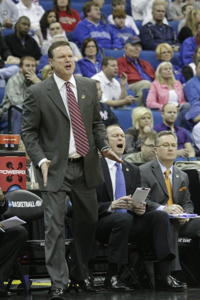 Kansas head coach Bill Self instructs his team from the sideline against Boston University on Friday, March 18, 2011 at the BOK Center in Tulsa, Oklahoma.
