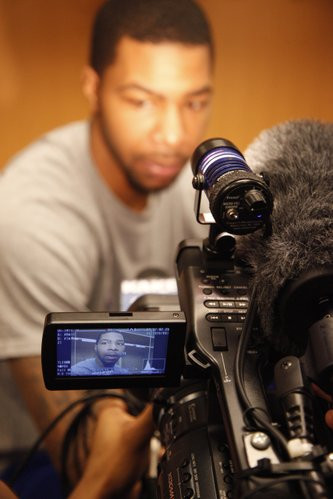 Kansas forward Marcus Morris answers questions about preparing for Illinois during interviews on Saturday, March 19, 2011 at the BOK Center in Tulsa.