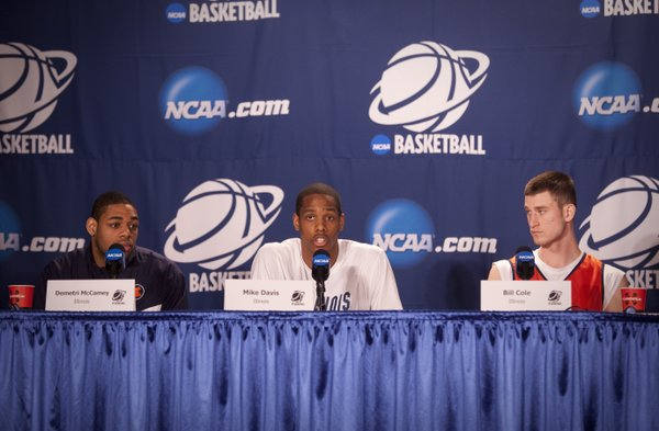 Illinois players Demetri McCamey, Mike Davis and Bill Cole take questions from media members on Saturday, March 19, 2011 at the BOK Center in Tulsa.