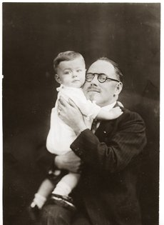 "John R. Brinkley with this son ""Little Johnny"""