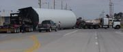 This truck is carrying a piece of a wind tower in the western Kansas town of Oakley. Overweight loads hauling wind turbine components have increased 700 percent since 2006.