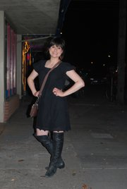 Clothing Details:  Boots: Dillard's, February 2011, $30.  Dress: Gift from my friend Danielle, March 2011, free.  Purse: Dillard's, 2009, $30.