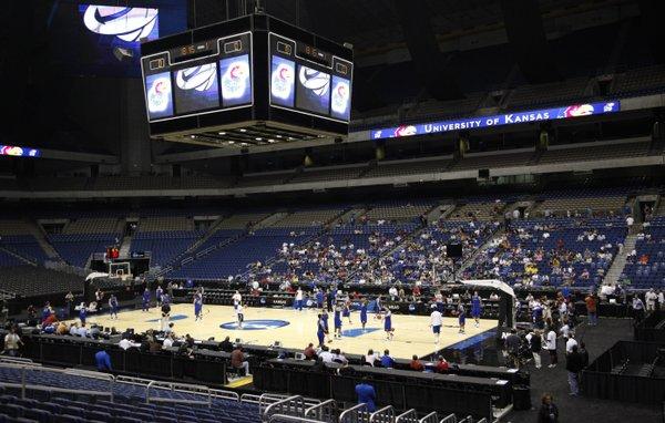 The Kansas Jayhawks run through an open practice on Thursday, March 24, 2011 at the Alamodome in San Antonio.