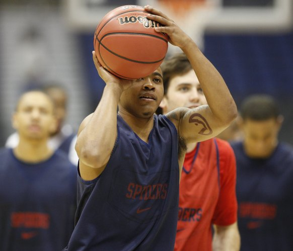 Richmond guard Kevin Anderson leans in for a shot during a day of practices and press conferences at the Alamodome in San Antonio on Thursday, March 24, 2011.