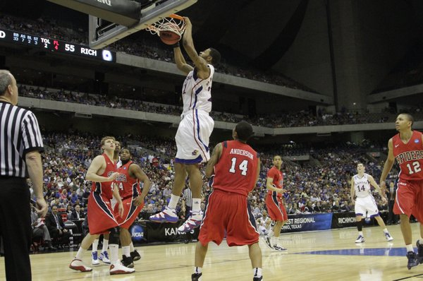 Kansas forward Markieff Morris (21) dunks on Richmond in the second half Friday, March 25, 2011 at the Alamodome in San Antonio.