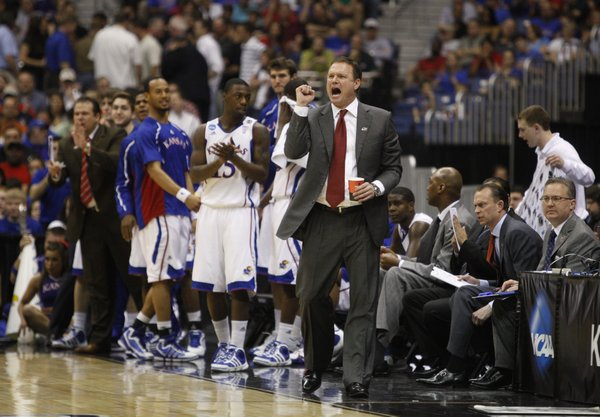 Kansas head coach Bill Self applauds his offense during the first half against Richmond on Friday, March 25, 2011 at the Alamodome in San Antonio.