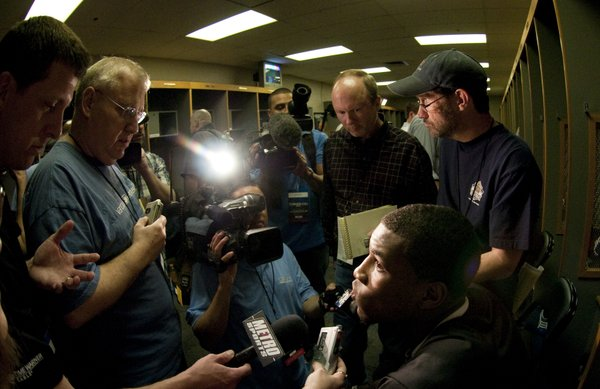 Kansas forward Thomas Robinson talks with media members in the team locker room on Saturday, March 26, 2011 at the Alamodome in San Antonio.