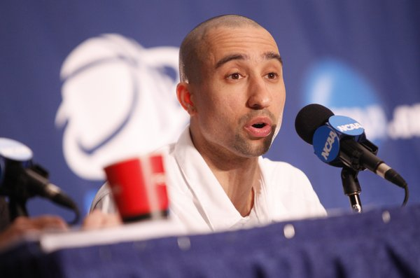 Virginia Commonwealth head coach Shaka Smart talks with media members during a press conference on Saturday, March 26, 2011 at the Alamodome in San Antonio.