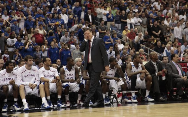 Kansas head coach Bill Self walks the sideline during the second half of KU's loss to Virginia Commonwealth Sunday, March 27, 2011 at the Alamodome in San Antonio.