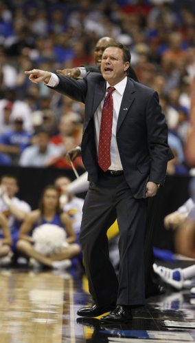 Kansas head coach Bill Self directs the offense against Virginia Commonwealth during the first half on Sunday, March 27, 2011 at the Alamodome in San Antonio.